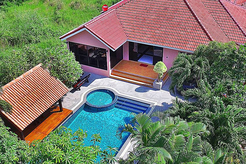 High angle overlook villa and swimming pool Of Baan Chatmanee