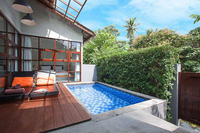 Sun bed near swimming pool with property Villa Rune 123 in Chaweng on Samui