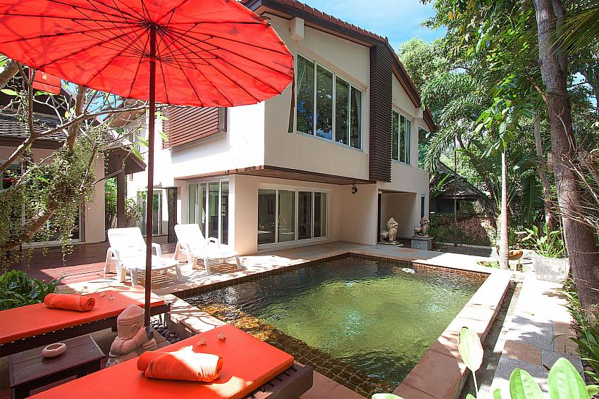 Sun bed near swimming pool with property Villa Baylea 401 at Chaweng in Samui