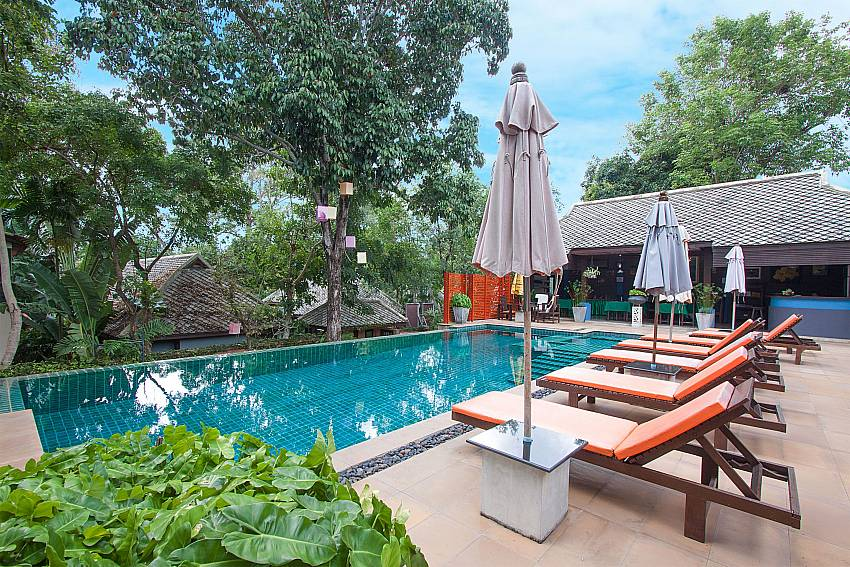 Sun bed near swimming pool Villa Baylea 202 in Koh Samui