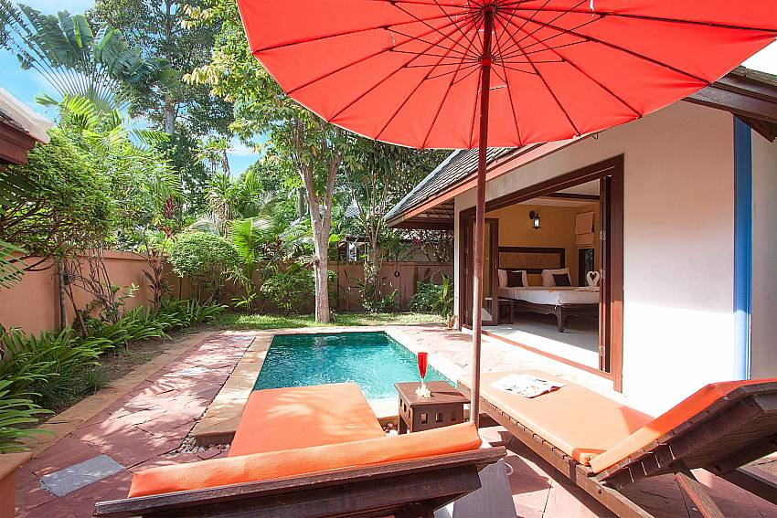 Sun bed near swimming pool with property Villa Baylea 101 in Chaweng Samui