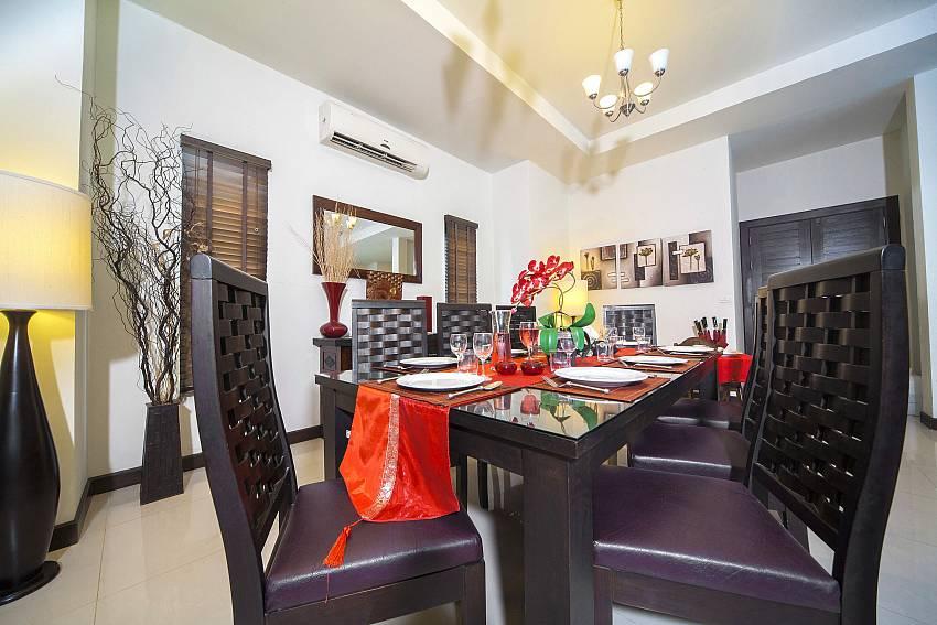 Dining Table seats 8 Comfortably-Villa Gaew Jiranai_4 Bedroom_ Family Villa_Private Pool_Nai Narn_Rawai_Phuket_Thailand