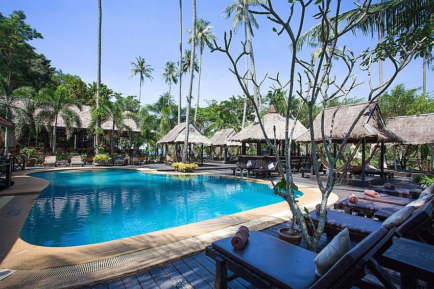 Sun bed near swimming pool Natures Oasis Resort No.8B at Bang Bao Koh Chang