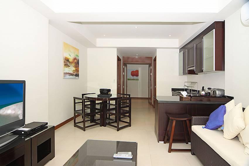 Living area with kitchen at Narumon villa Phuket