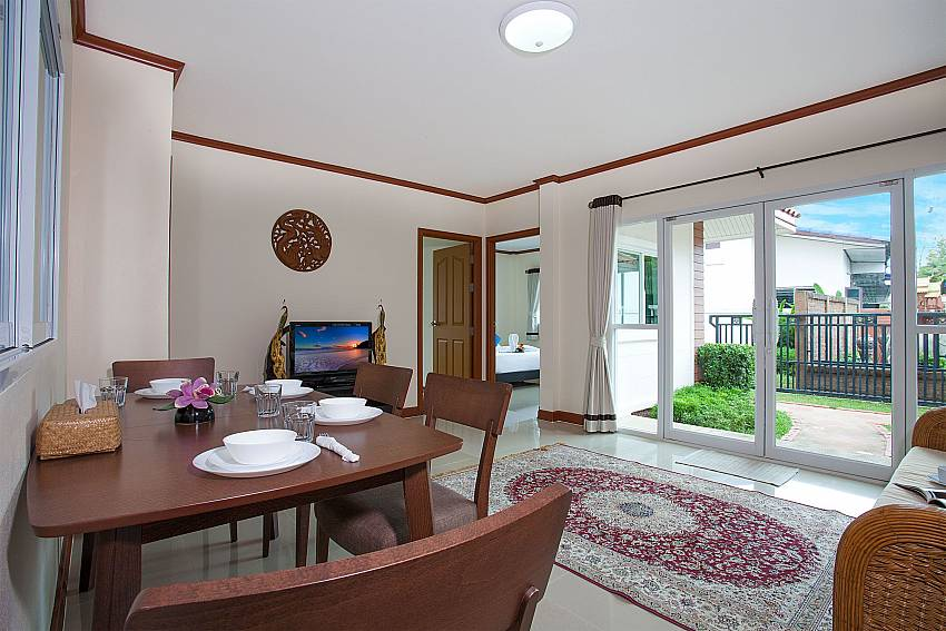 Dinning area with TV Timberland Lanna Villa 305 in Bangsaray Pattaya