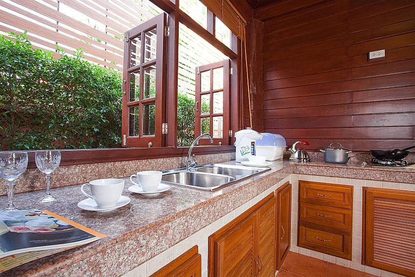 Kitchen Timberland Lanna Villa 201 in Bangsaray Pattaya