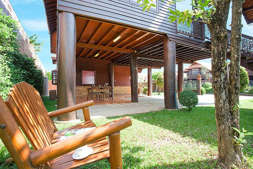 Seat in garden Timberland Lanna Villa 201 in Bangsaray Pattaya