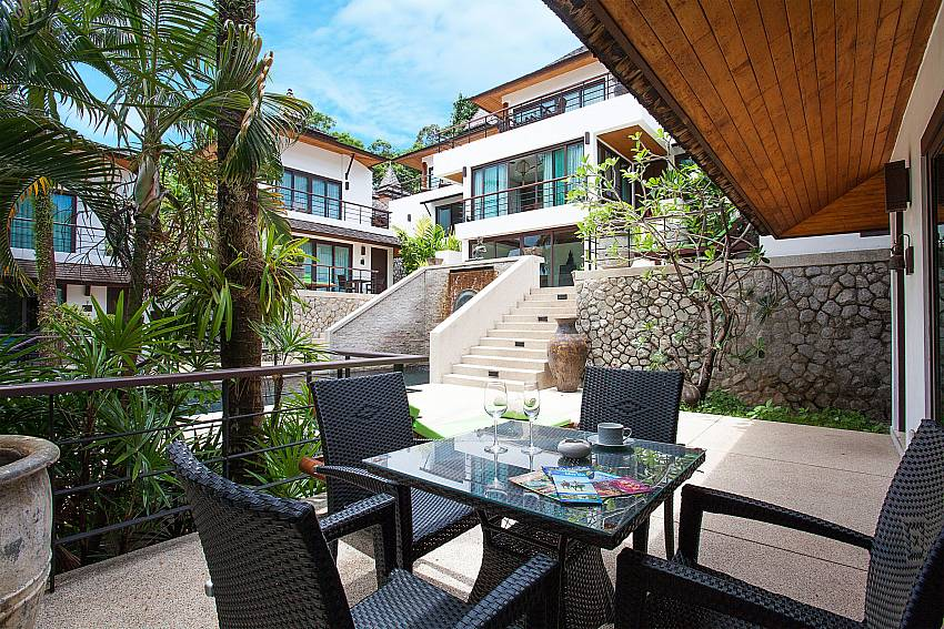 Dining table outside of Nirano Villa 25 in Central Phuket