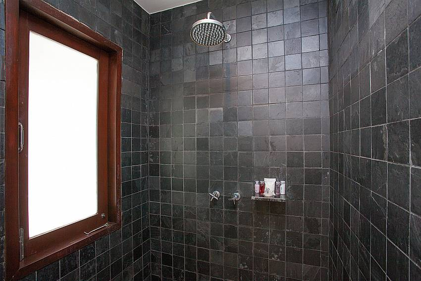 Rain shower in master en suite bathroom of Nirano Villa 25 Phuket