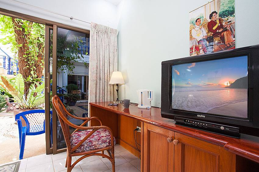 TV and direct access to the pool terrace at Apartment Khuno 103 Phuket