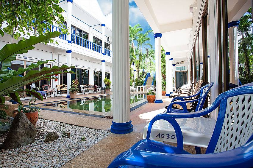 Outdoor sitting by the 2. communal pool at Apartment Khuno 103 in Phuket