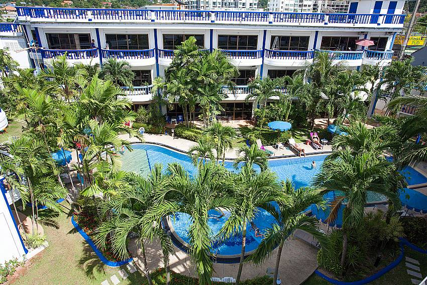 Communal pool with lots of shade at Apartment Khuno 103 in Phuket