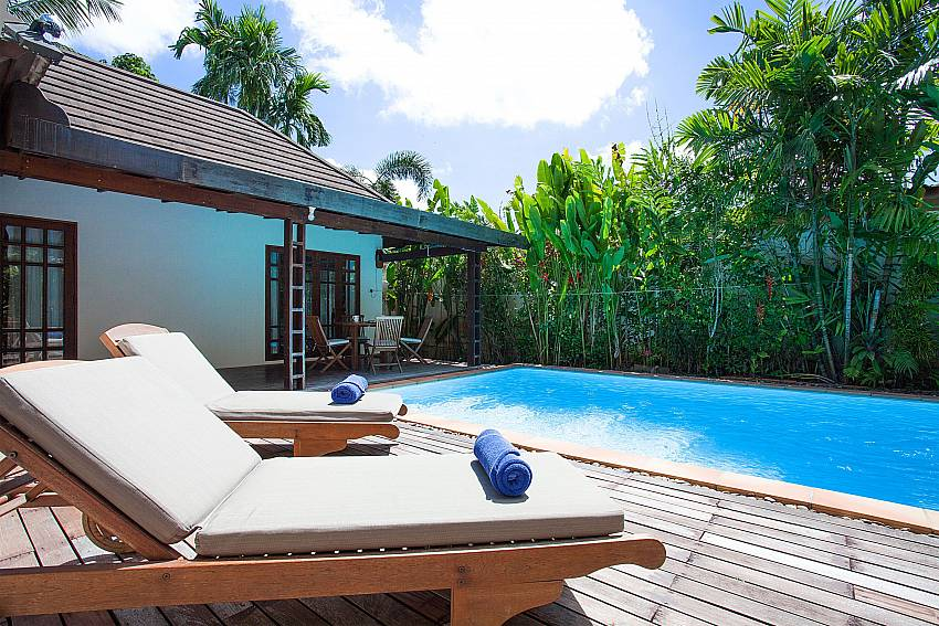 Sun loungers by the private pool of Villa Armorela 201 in West Phuket