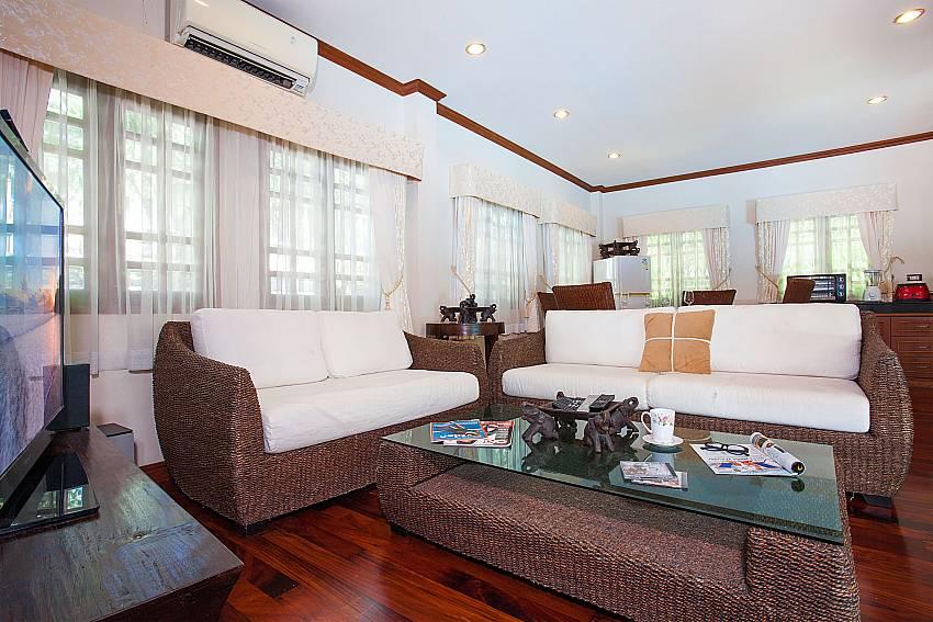 Airy open living area in Villa Armorela 201 at Bangtao Phuket
