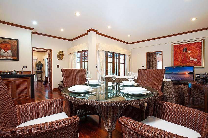 Open plan living with dining area at Villa Armorela 201 Phuket