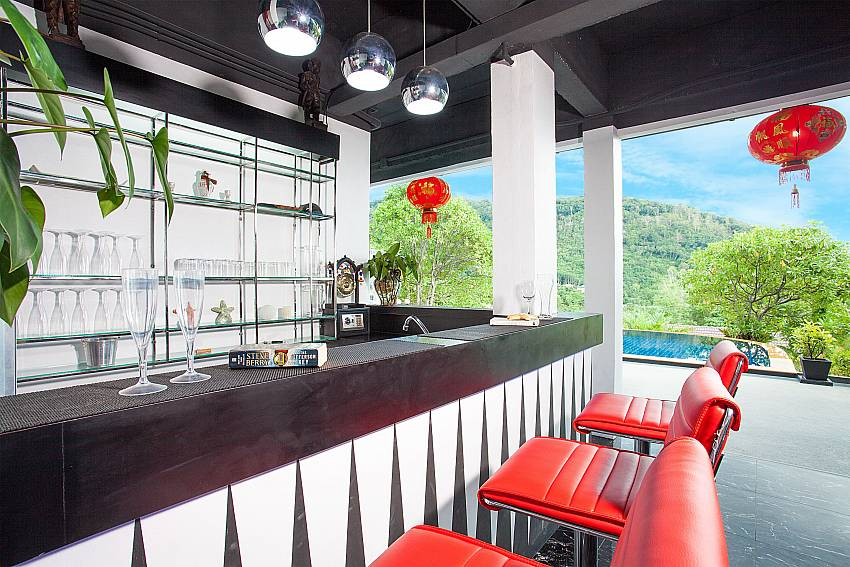 Bar in open living area at Big Buddha Hill Villa 2 in South Phuket