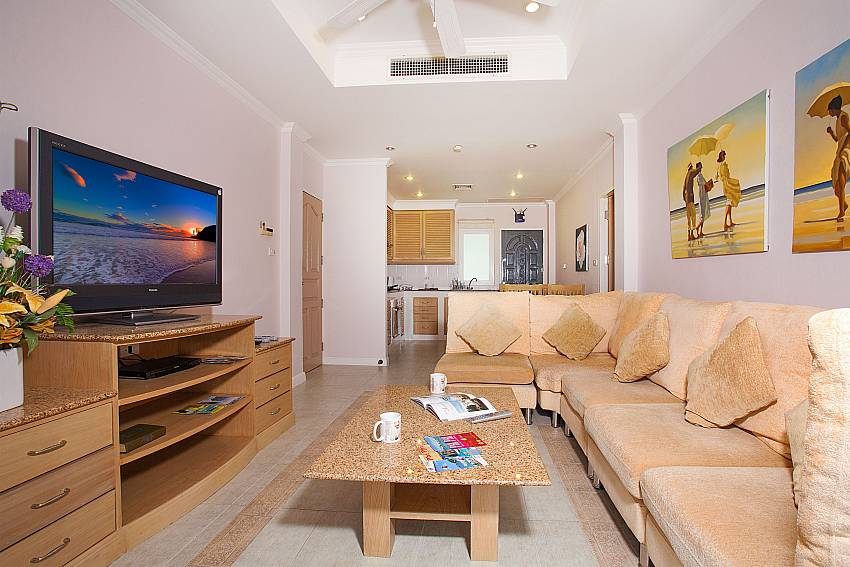 Open living area with TV at Manuae Condo 202 Karon West-Phuket