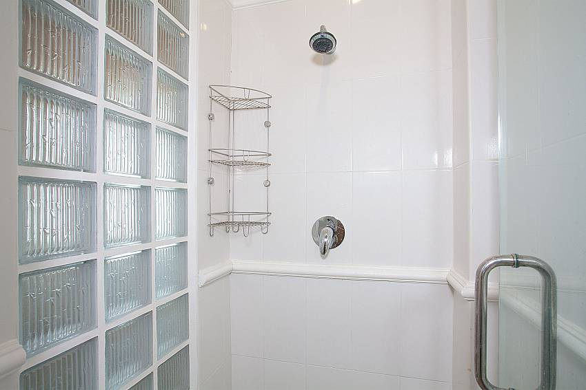 Shower in ensuite master bathroom at Manuae Condo 202 Phuket