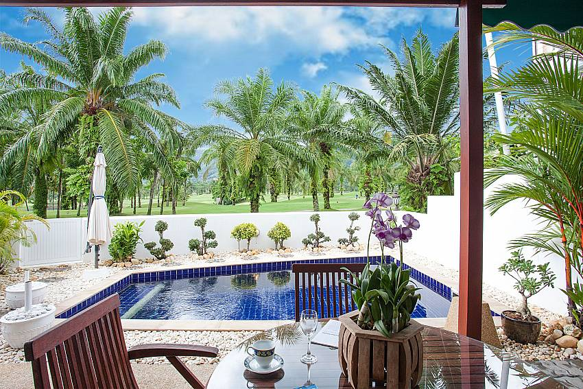 Outdoor sitting by the private pool with great view at Villa Dooriya in Central Phuket