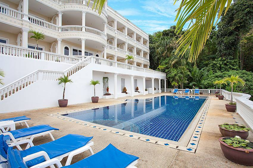 Large pool at 1 bedroom Manuae Condo 102 in Karon Phuket