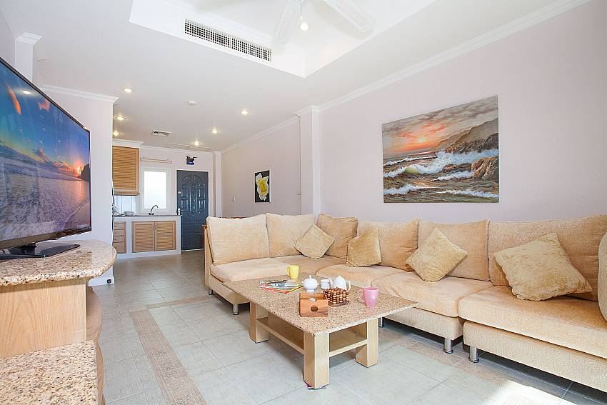 TV and big sofa at 1 bed Manuae Condo 102 in West-Phuket