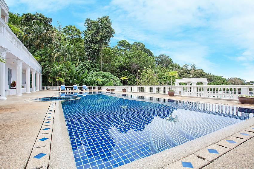Communal pool area of Manuae Condo 201 above Karon beach in Phuket