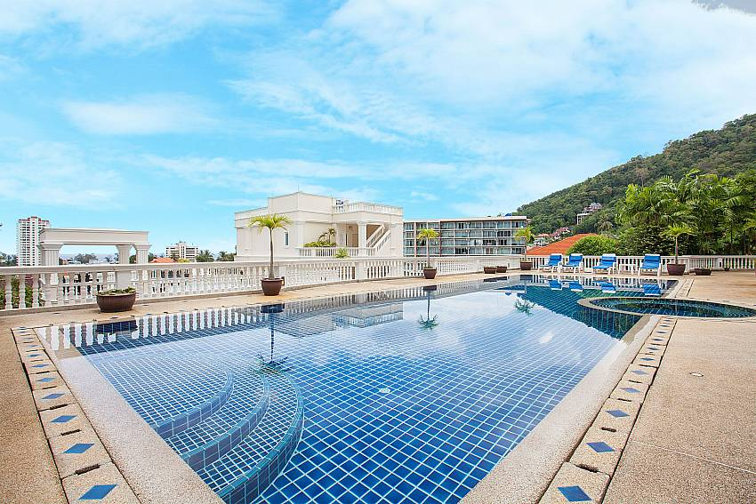 Communal swimming pool with view over Karon In Westphuket