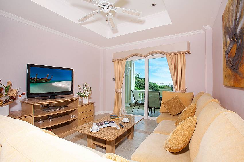 Comfortable lounge with TV at Manuae Condo 101 Phuket