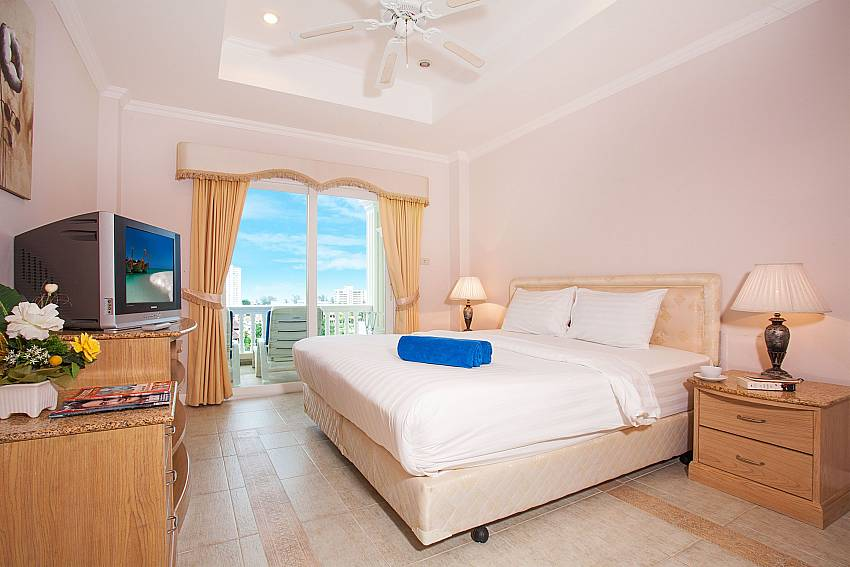 Bedroom with kingsize bed and great view at Manuae Condo 101 Phuket