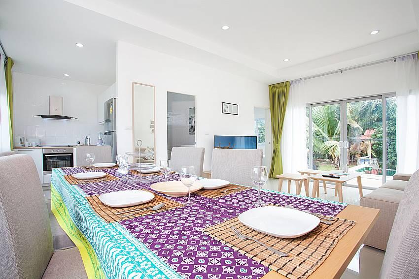 Open Plan dining, living and kitchen at Villa Inigo No.2 in Samui Thailand