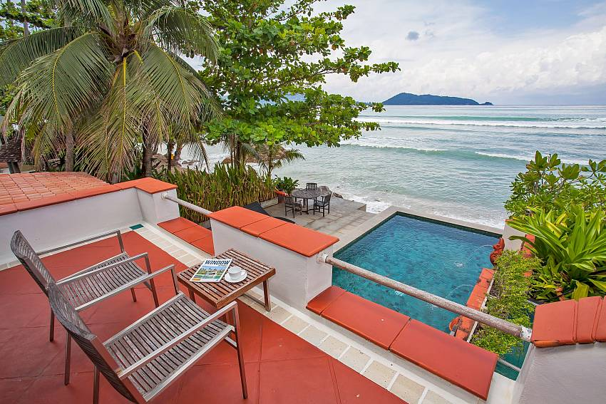 Master bedroom balcony with pool and sea view Phuket