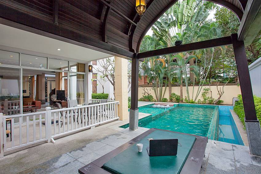 Private pool area of 4 bed Rustic Gold Villa Pattaya