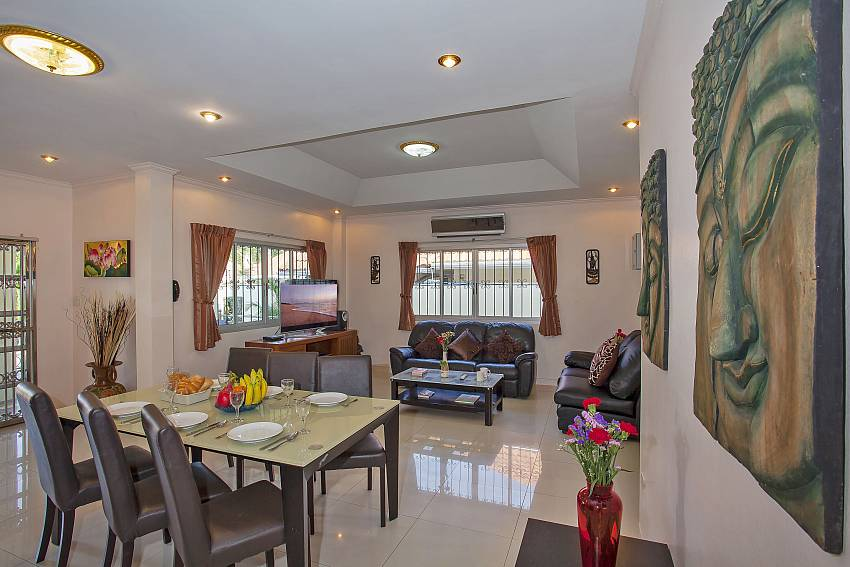 Open plan dining and living room in Baan Kinara  Pattaya