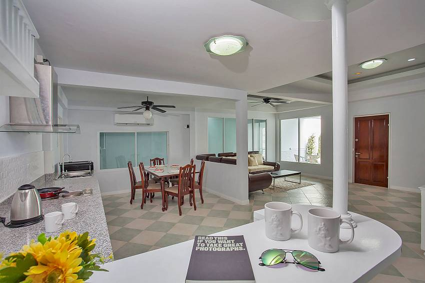 Open Plan kitchen with dining and living area at Vogue Villa Pattaya