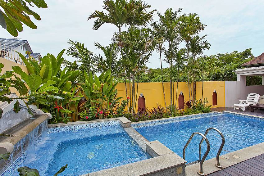 Private pool with small waterfall at the Silver Sky Villa in Pattaya