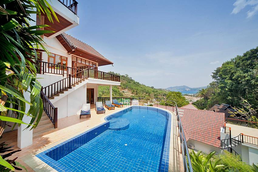Pool and access to upstairs balcony-patong-hill-estate-five_5-bedroom_ pool villa_ocean-view_patong_phuket_thailand