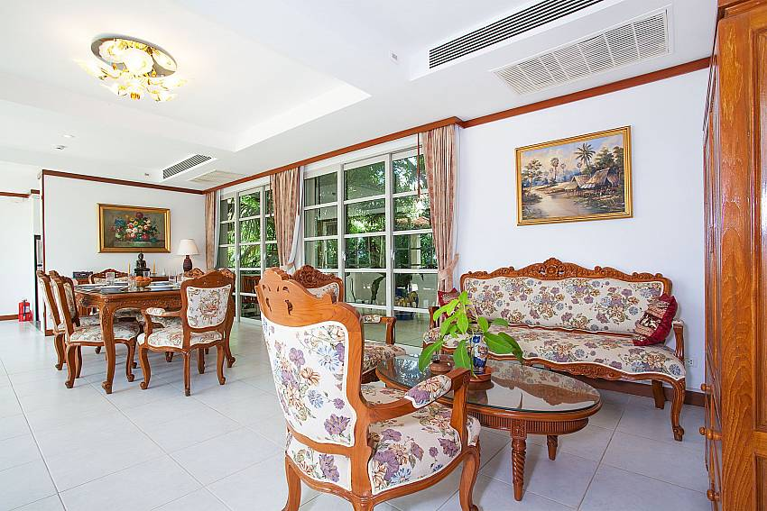 Spacious open plan living and dining area at Ruedi Villa in West Phuket