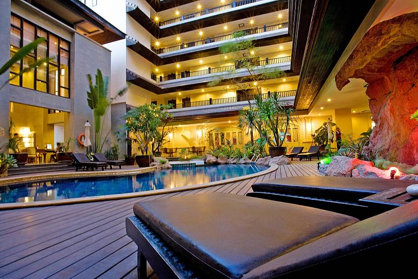 Pool shaded mornings & afternoons-Nirvana Place_Pattaya_Thailand