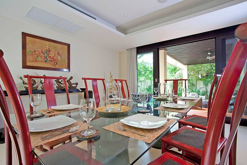 Dining Tabls for 8 guests_maan-tawan_4-bedroom_private-pool-villa_layan-beach_phuket_thailand