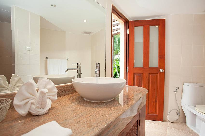 Bathroom with direct access from the garden at Red Mountain Villa Phuket
