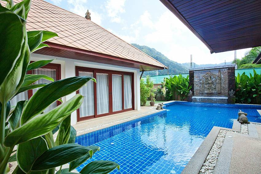 Private pool with water features at Villa Fantasea in West Phuket