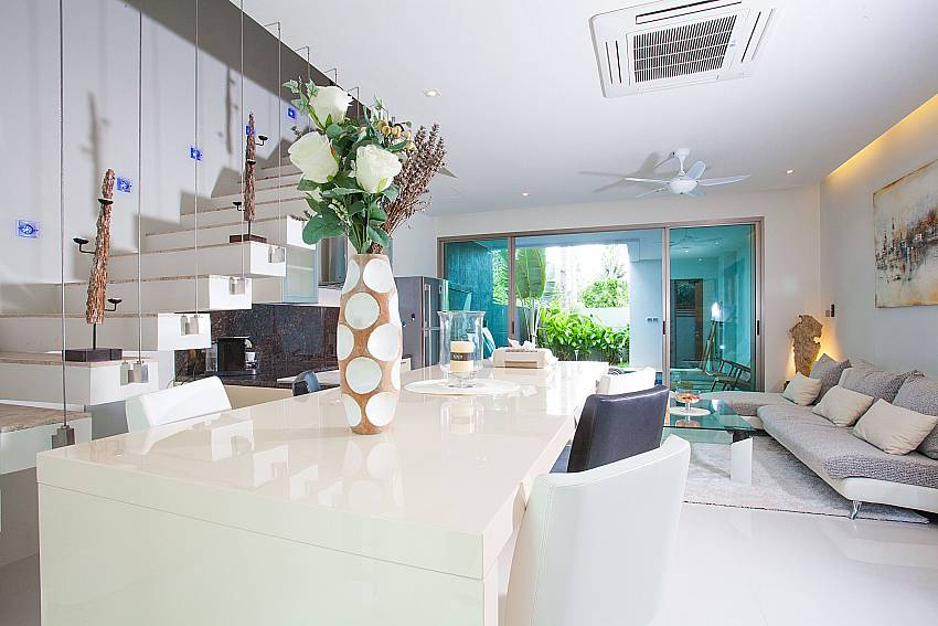 Open plan dining and living area at Friendship Villa No.7 Phuket