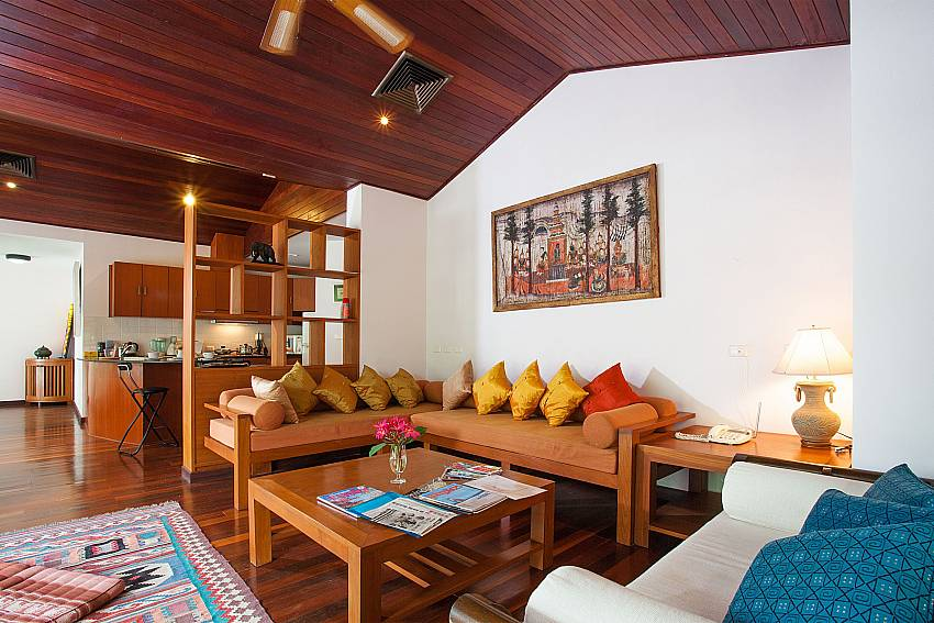 Open plan living at Chai Nam Condo on Bang Tao Beach in West Phuket