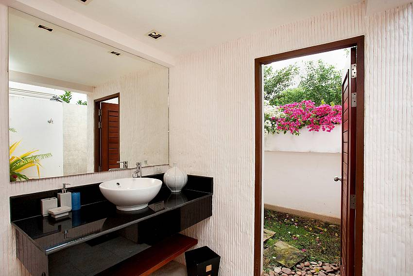 Bathroom with access from outside at Bang Tao Bali Villa Phuket