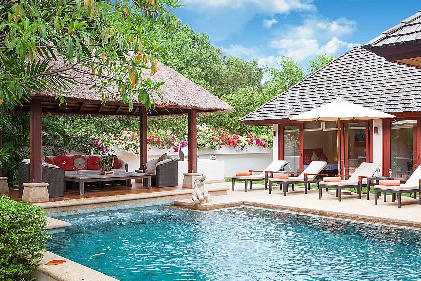 Plenty of relaxing space around the private pool in Bang Tao Bali Villa Phuket