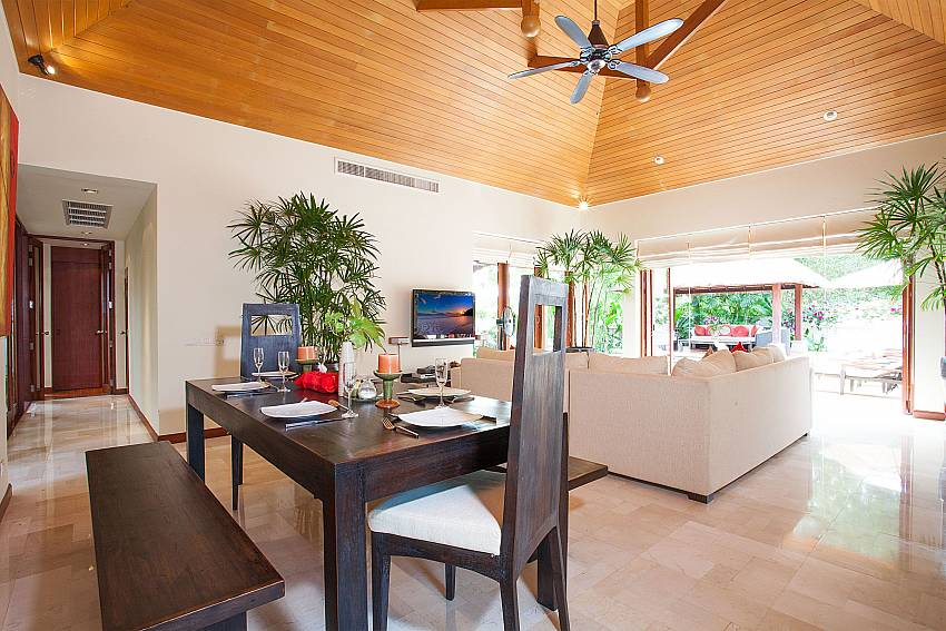 Open plan dining and living area in Bang Tao Bali Villa West Phuket