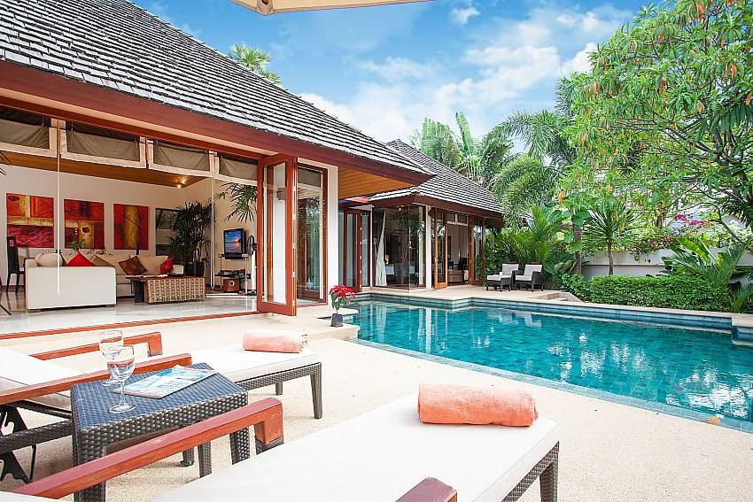 Sun beds by the pool at Bang Tao Bali Villa in West Phuket
