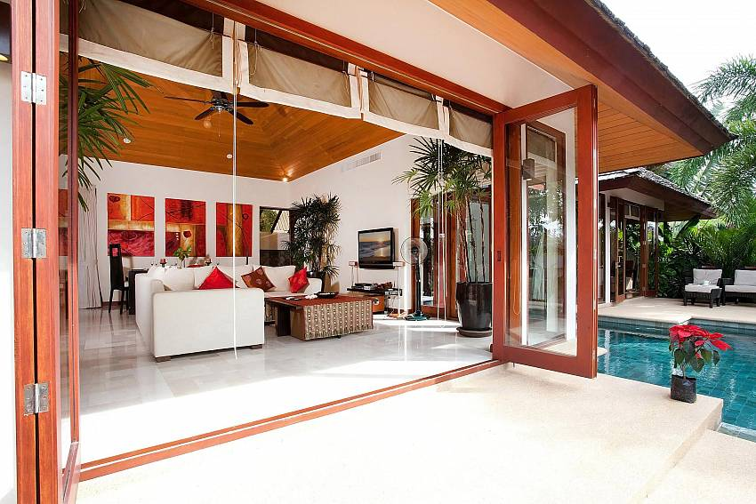 Huge doors give easy access to the living room at Bang Tao Bali Villa Phuket