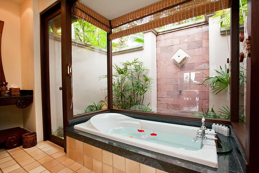 Jacuzzi tub overlooking outside Of Pimalai Beach Villa 1 Bedroom Luxury Property in Koh Lanta
