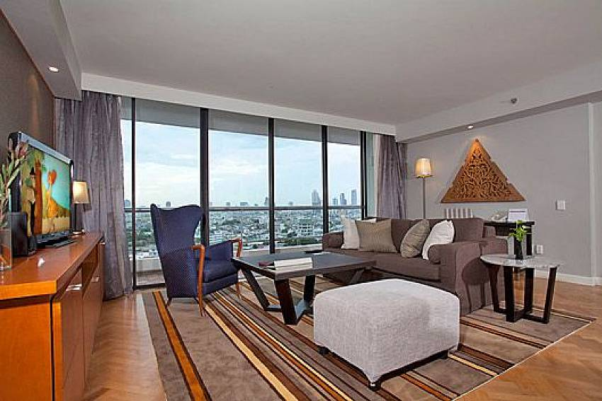 Living room see views Of Sathorn Suite Room 5151